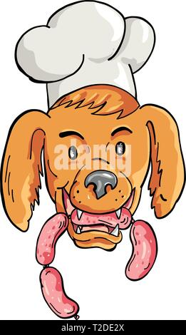 Lo stile del fumetto illustrazione di un Setter Irlandese cane che indossa lo chef, baker o cucinare hat mordere una stringa di salsiccia se visto dalla parte anteriore su sfondo isolato. Immagini Stock