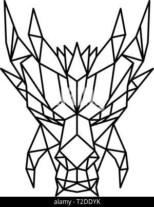 Basso Stile del poligono illustrazione di una testa di un drago e un serpente-come la mitica creatura che appare nel folklore di molte culture se visto dalla parte anteriore sul Immagini Stock