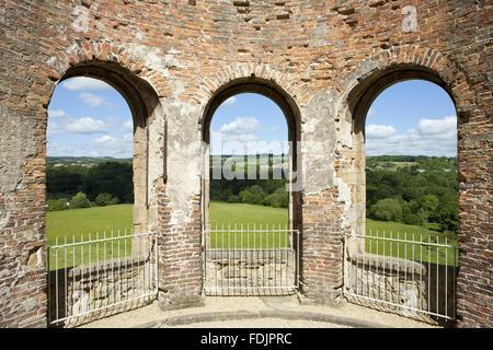 Vista dall'Orangery oltre il paesaggio a Gibside, Newcastle upon Tyne. Immagini Stock
