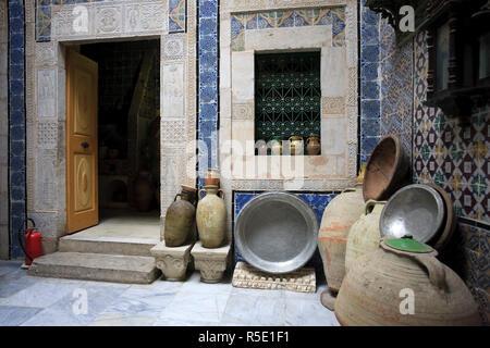 Africa, Tunisia Sousse, vecchia Medina (patrimonio mondiale dell'UNESCO), Dar el detta casa tradizionale, ora ristrutturato come un museo Immagini Stock