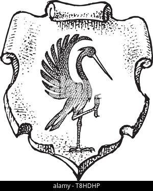 Per animale araldico in stile vintage. Inciso lo stemma con stork bird. Emblemi medievale e il logo del regno fantasy. Immagini Stock