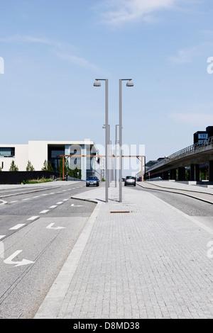 Architettura urbana, Ørestad, isola di Amager, a Copenaghen, Danimarca Immagini Stock