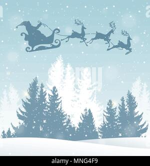 Natale sfondo vettoriale con Babbo Natale e inverno paesaggio innevato. Anno nuovo biglietto di auguri Immagini Stock