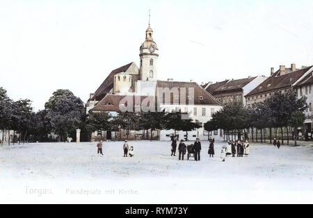 Chiese di Torgau 1903, Landkreis Nordsachsen, Torgau, Paradeplatz mit Kirche, Germania Immagini Stock