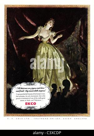 Pubblicità per Ekco, dal Festival della Gran Bretagna guida, pubblicato da HMSO. Londra, UK, 1951 Immagini Stock