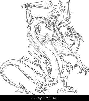 Schizzo di disegno illustrazione dello stile di Ercole, un eroe romano e Dio l'equivalente del divino greco eroe Eracle, attaccando un drago medievale su i Immagini Stock