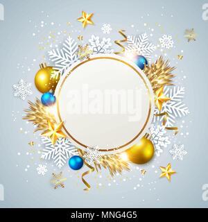 Vettore astratto di Natale della scheda Messaggi di saluto. Fiocchi di neve bianca e decorazioni dorate su sfondo blu. Immagini Stock