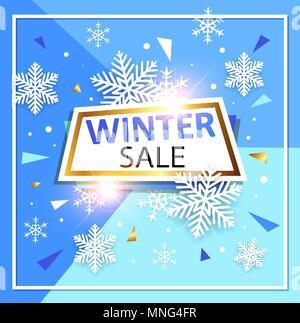 Abstract sfondo vettoriale stagionale per vendita di Natale. Fiocchi di neve bianca e banner su uno sfondo blu. Immagini Stock
