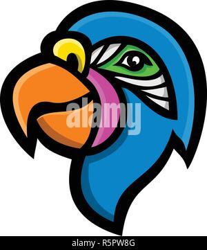 Icona di mascotte illustrazione della testa di un pappagallo, noto anche come psittacine, uccelli che trova per lo più regioni tropicali e subtropicali visto dal lato su Immagini Stock