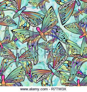 Full frame pattern di sfondi di farfalle iridescente Immagini Stock