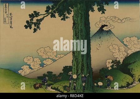 """Mishima passano nella provincia di Kai (da una serie di """"36 viste del Monte Fuji""""), 1830-1833. Collezione privata. Immagini Stock"""