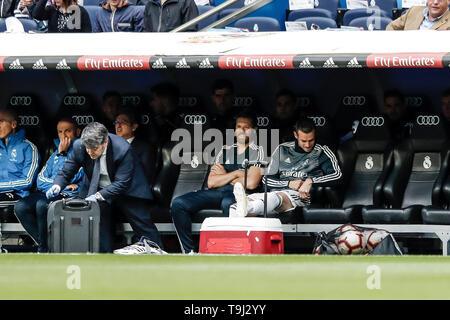 Madrid, Spagna. 19 Maggio, 2019. Il 19 maggio 2019; Santiago Bernabéu Stadium, Madrid, Spagna; La Liga Calcio, Real Madrid contro il Real Betis; Gareth Bale (Real Madrid) inizia sul banco di nuovo Credito: Azione Plus immagini di sport/Alamy Live News Immagini Stock