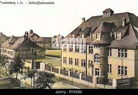 Edifici in Frankenberg/Sa., le strutture militari della Germania, le scuole nel Landkreis Mittelsachsen, Sentry scatole in Germania (storico), 1917, Landkreis Mittelsachsen, Frankenberg Unteroffiziersschule, Immagini Stock