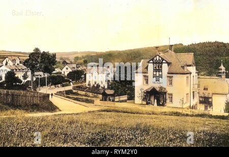 Strade in Bad Elster, 1906, Vogtlandkreis, Bad Elster, Ortseinsicht, Germania Immagini Stock