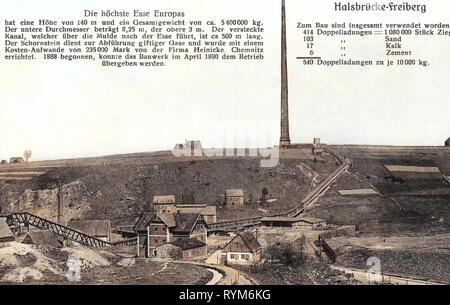 Halsbrücker Esse, Industria in Sassonia, testi, 1903, Landkreis Mittelsachsen, Halsbrücke, Höchste Esse der Welt 140 m, Germania Immagini Stock
