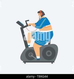 Cyclette per il fitness. La ragazza più dimensioni. Salute sport nel club. Donna grassa facendo esercizi, perde peso, in fase di riscaldamento. Formazione pongono in lezioni di yoga Immagini Stock