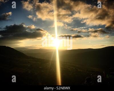 Sunrise in Grazalema, Andalusia, Spagna Immagini Stock