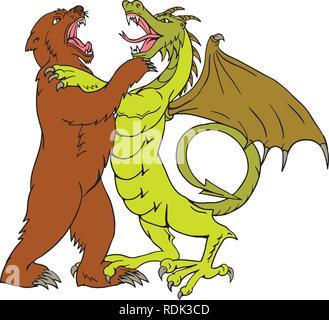 Disegno stile sketch illustrazione di un dragone cinese wrestling, giostre, sparring o combattendo contro un orso grizzly isolato su sfondo bianco fatto in fu Immagini Stock