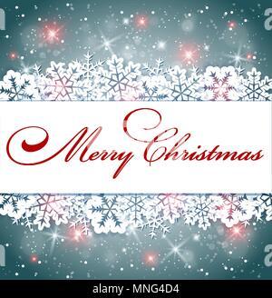 Vettore di Natale splendente banner con i fiocchi di neve e saluto l'iscrizione. Sfondo di vacanza. Immagini Stock