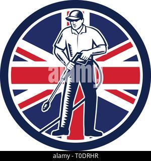 Illustrazione del lavoratore britannico con la rondella di pressione di lavaggio chimico utilizzando acqua ad alta pressione con spray UK Regno Unito Union Jack flag impostato all'interno Immagini Stock