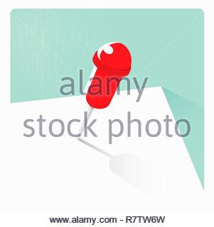 Singola mappa il pin su carta bianca Immagini Stock