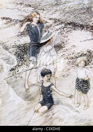 Sulla spiaggia, da Arthur Rackham. Inghilterra, 1910 Immagini Stock