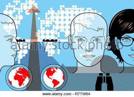 I giovani con le connessioni globali e internazionali di Outlook Immagini Stock