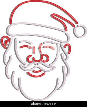 In stile retrò illustrazione mostrante una degli anni novanta insegna al neon luce di illuminazione di segnaletica di una testa di Babbo Natale visto dalla parte anteriore su sfondo isolato. Immagini Stock