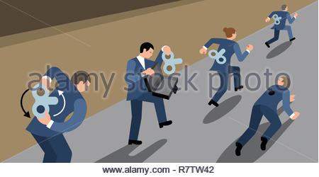 La precisione di un orologio la gente di affari in competizione in gara Immagini Stock