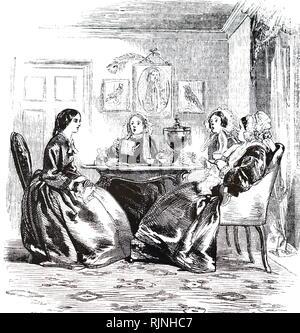 Una incisione raffigurante donne spettegolare round il tè urn. Datata del XIX secolo Immagini Stock