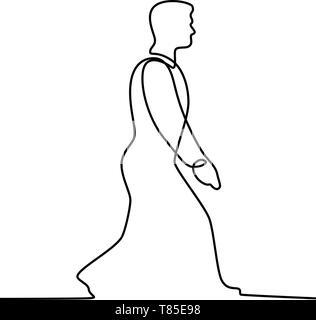 Linea continua illustrazione di imprenditore maschio man walking visto dal lato fatto in bianco e nero in stile monolinea. Immagini Stock