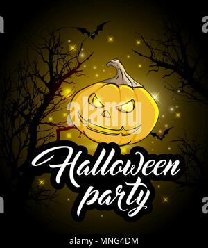 Invito a una festa di Halloween. Arancione zucca e sagome di albero su uno sfondo nero. Immagini Stock