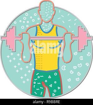Anni ottanta Memphis style design illustrazione di un atleta o atleta di sollevamento di un barbell visto dal lato anteriore impostato all'interno del cerchio su sfondo isolato. Immagini Stock
