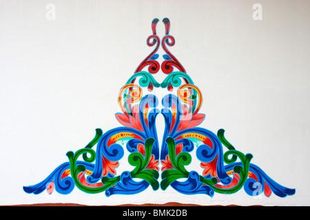 Tipicamente vivid,dipinto di design per Ox carrello decorazione presso Sarchi, Costa Rica, Immagini Stock