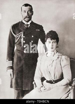 Vecchia foto vintage di George V e Maria di Teck, 1895 Immagini Stock