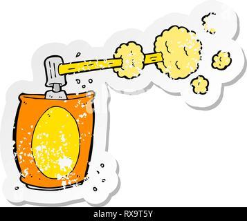 Retro adesivo invecchiati di un cartoon spray per aerosol può Immagini Stock