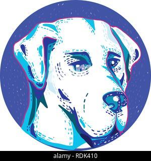 Doodle arte illustrazione della testa di un Labrador Retriever o in laboratorio, un tipo di retriever-cane da impostare all'interno del cerchio fatto in stile retrò. Immagini Stock