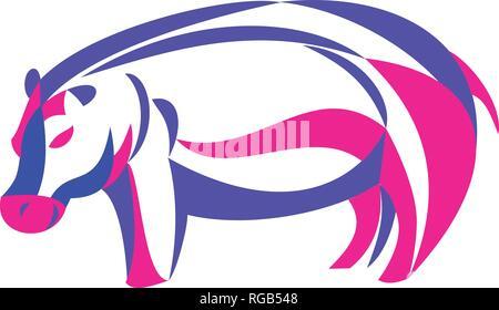 Ricci stile Ribbon illustrazione di un ippopotamo o di Ippona, un erbivoro di grandi dimensioni, semiaquatic mammifero nativo per l'Africa sub-Sahariana fatto in twisted fre Immagini Stock