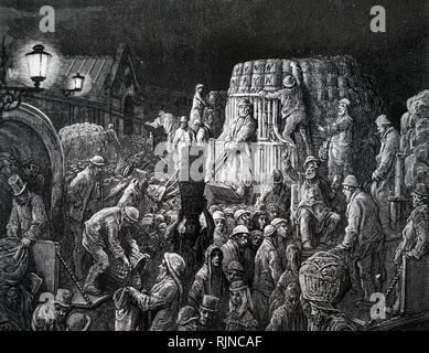 Una incisione raffigurante mercato di Covent Garden illuminati da lampade a gas. Datata del XIX secolo Immagini Stock