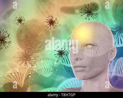 3D render di un abstract medical sfondo con volto femminile, cellule di virus e di filamenti di DNA Immagini Stock