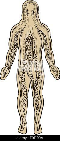 Disegno stile di disegno illustrativo di una piovra aliena all'interno di un corpo umano e la presa in consegna è visto dal lato anteriore isolato su sfondo bianco. Immagini Stock