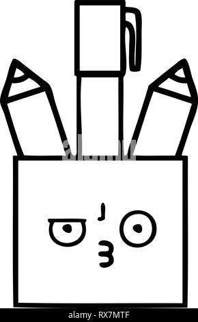 Disegno della linea cartoon di una matita pot Immagini Stock