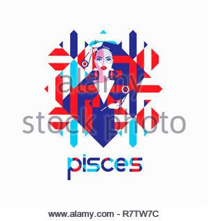 Modello di moda nel modello geometrico come pesci segno zodiacale Immagini Stock
