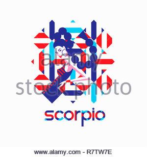 Modello di moda nel modello geometrico come scorpione segno zodiacale Immagini Stock