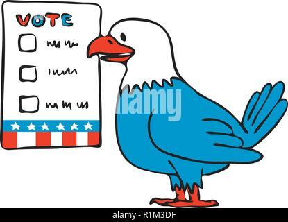 Disegno stile sketch illustrazione di un American aquila calva circa di voto accanto a scrutinio elettorale carta isolato su sfondo bianco. Immagini Stock