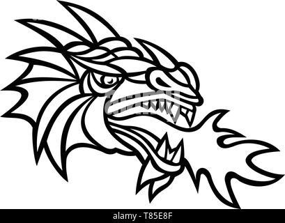 Icona di mascotte illustrazione della testa di un mitico Dragon fuoco respirazione visto dal lato su sfondo isolato in stile retrò fatto in bianco e nero. Immagini Stock