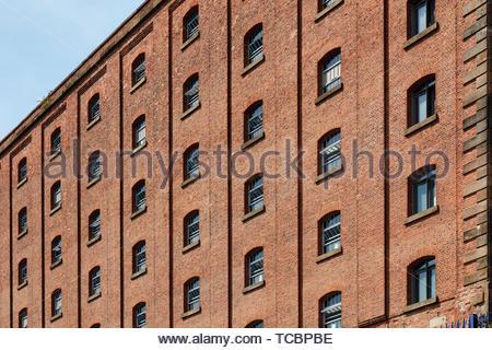 Windows sul bus;ding. Magazzino di Londra, Manchester, Regno Unito. Architetto: Archer Humphreys architetti, 2018. Immagini Stock