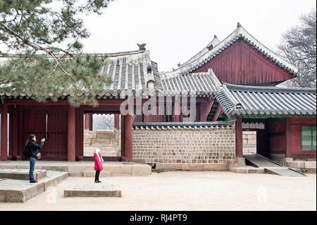 Sacrario di Jongmyo, Seoul, Corea del Sud. Jeongjeon. Questo edificio ospita camere lo spirito del re coreano. Questo santuario è stato costruito da Re Taejo della Choson Immagini Stock