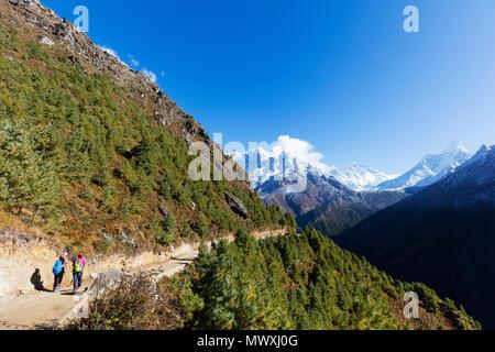 Ama Dablam, 6812m, sul Nuptse e Lhotse montagne, Parco Nazionale di Sagarmatha, Sito Patrimonio Mondiale dell'UNESCO, Valle del Khumbu, in Nepal, Himalaya, Asia Immagini Stock