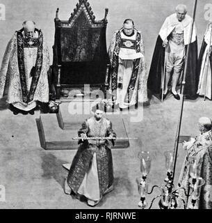 L incoronazione di Elisabetta II del Regno Unito, ha avuto luogo il 2 giugno 1953 presso l'Abbazia di Westminster, Londra. Immagini Stock